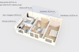 Erdvus 2 kambarių butas Elektrėnuose